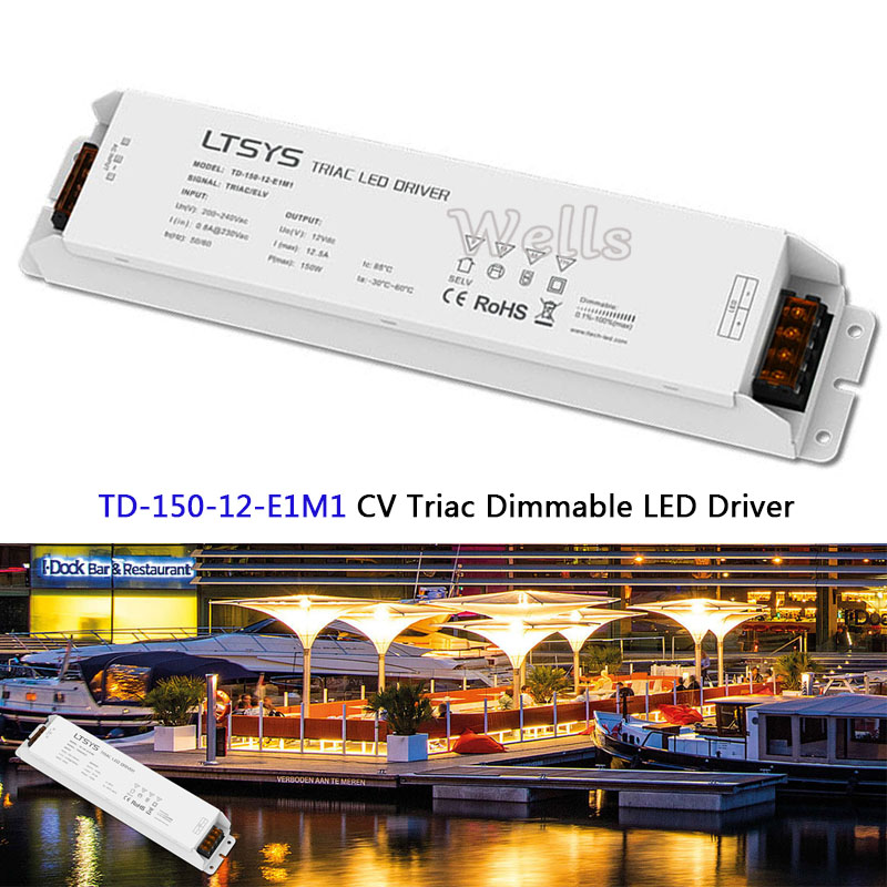 TD-150-12-E1M1;New LTECH intelligent led Driver;12VDC 12.5A 150W constant voltage Triac Dimmable LED Driver Triac Push Dim kvp 24200 td 24v 200w triac dimmable constant voltage led driver ac90 130v ac170 265v input