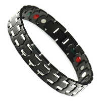 Wollet Jewelr 5 in 1 Health Energy Infrared Germanium Negative Ion Magnetic Gold Black Stainless Steel Bracelet Bangle Women