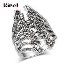 0333a272f Kinel envío gratis gris CZ circón anillos joyería Vintage moda Color plata  antiguo mosaico cristal austriaco Punk anillo 2018 nu.