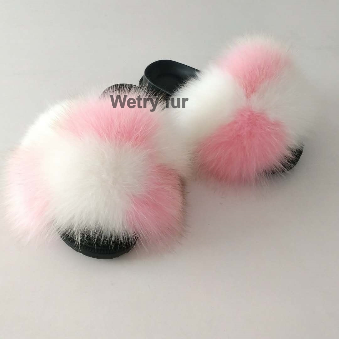 2020  Kids Real Fox Slippers Raccoon Slides Chinelos Menina Slippers Toddler Baby Girls Shoes Fox Fur Slides Fur Slides For Kids