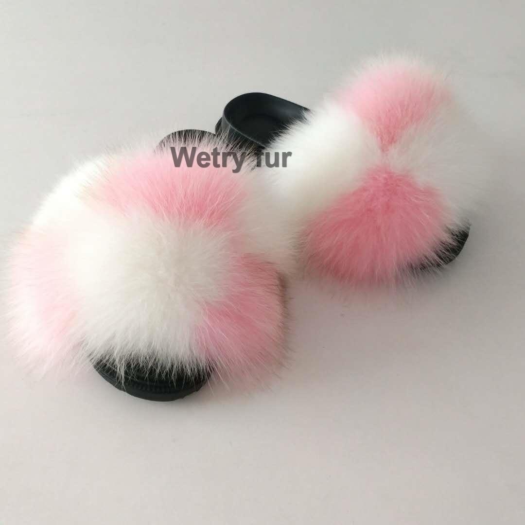 2020  Kids Real Fox Slippers Raccoon Slides Chinelos Menina Slippers Toddler Baby Girls Shoes Fox Fur Slides Fur Slides For Kids