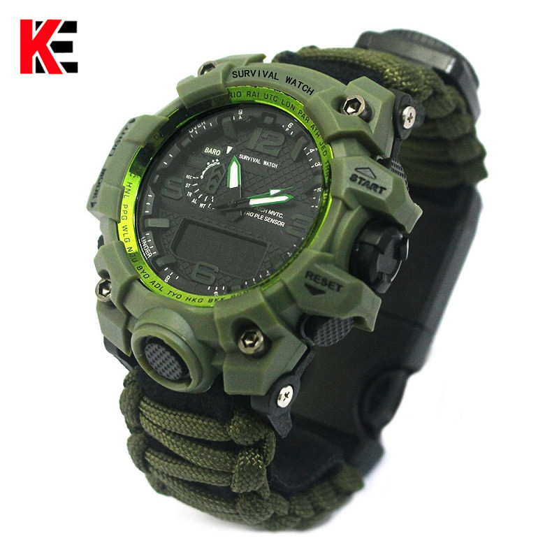 Outdoor Camping Survival Watch Multi-functional Paracord Watch With Compass Whistle Thermometer Rescue Rope Survival Kit EDC