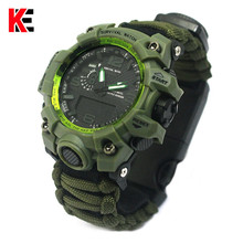 Outdoor Camping Survival Watch Multi-functional Paracord with Compass Whistle Thermometer Rescue Rope kit EDC