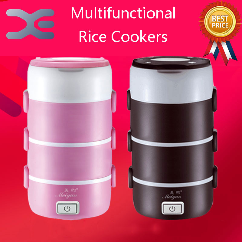 2.2L Small appliances Round Mini Rice Cooker 4 Layer Electric Lunch Box Electronic Heating Lunch Box aosbos fashion portable insulated canvas lunch bag thermal food picnic lunch bags for women kids men cooler lunch box bag tote