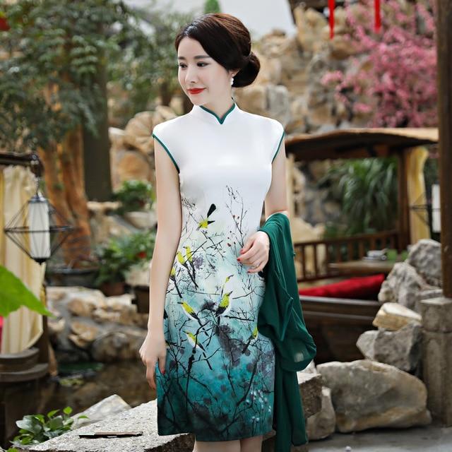 c9e67f73e Vietnam Aodai Twinset Cardigan Cheongsam vintage Chinese Style Women Daily  Banquet Dress 2 Pieces Sets