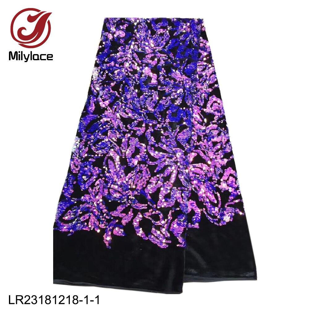 Ev ve Bahçe'ten Kumaş'de Milylace Nijeryalı kadife kumaş 5 metre yumuşak kadife parlak renkli imagic sequins mükemmel parti elbiseler için LR23181218 1'da  Grup 1