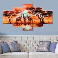 אמנות בד 5 piece הפילים האפריקאים HD מודפס בעלי החיים ציור נוף אמנות קיר פוסטר הדפסת עיצוב חדר שינה