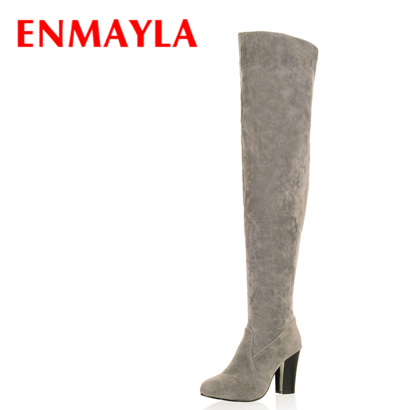 ENMAYLA Black Blue Gray Over-the-Knee Boots Women Snow Fashion Winter Boots Shoes Women High Autumn Boots Size 34-43 Long Boots famso size34 43 2017 new sexy women boots black autumn over the knee boots high heels red shoes winter female snow boots sbt2972