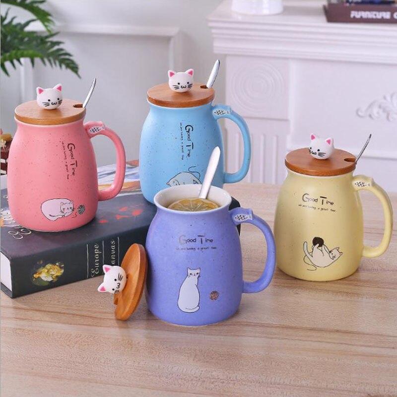 BAISPO Chat Tasse Avec Couvercle En Céramique Tasse Portable Lait Café Tasse Enfants Bureau Cadeaux Creative Tasse Avec Une Cuillère et Couvercle écologique