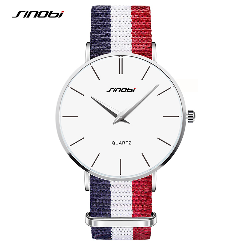 7dae83b46302 Unisex Fashion Wristwatches NATO Strap Durable Nylon Strap SINOBI Top  Luxury Brand Fashion Geneva Ultra thin