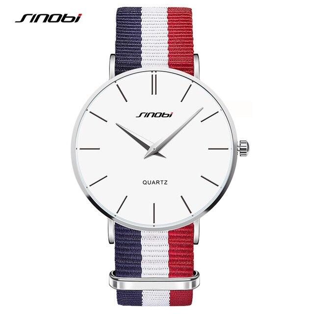 SINOBI Unisex Fashion Wristwatches Colourful Male Watches NATO Strap Nylon Watchband Top Luxury Brand Couple Geneva Quartz Clock