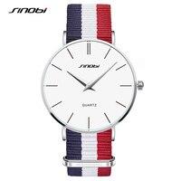 SINOBI Unisexe Mode Montres Coloré Mâle Montres Bracelet NATO Nylon Bracelet Top Marque De Luxe Couple Genève Quartz Horloge