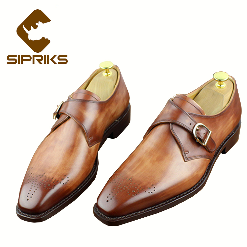 Sipriks Luxury Mens Goodyear Welted Dress Shoes Red Brown Single Monk Strap Shoes Square Toe Mens Formal Tuxedo Shoes Suits Mens rhinestone square heel mens dress shoes