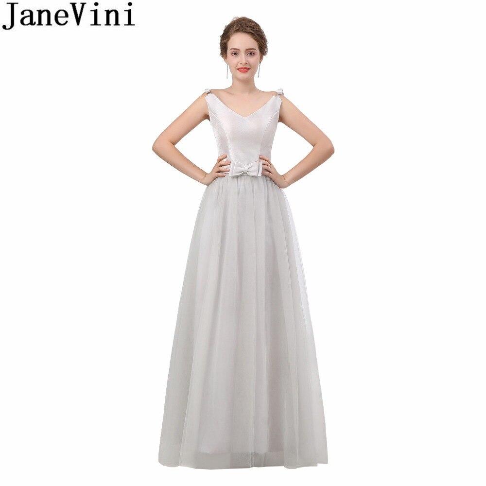 JaneVini Robe Demoiselle Light Gray Long Bridesmaids Dresses For Women V Neck Tulle Simple Party Formal Dresses For Wedding 2018