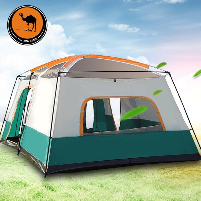Tentes Camping extérieur 3-12 personnes grand espace quatre saisons haute qualité camping tente avec deux chambres et un salon