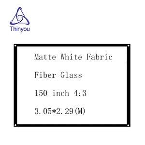 Thinyou матовая белая ткань стекловолокно 150 дюймов 4:3 простой проектор экран настенный установленный занавес с люверсами без рамки