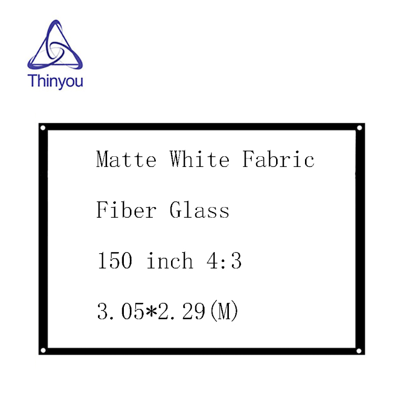 Thinyou Matte White Fabric Fiber Glass <font><b>150</b></font> <font><b>inch</b></font> 4:3 Simple <font><b>Projector</b></font> <font><b>Screen</b></font> Wall Mounted curtain with Eyelets without Frame image