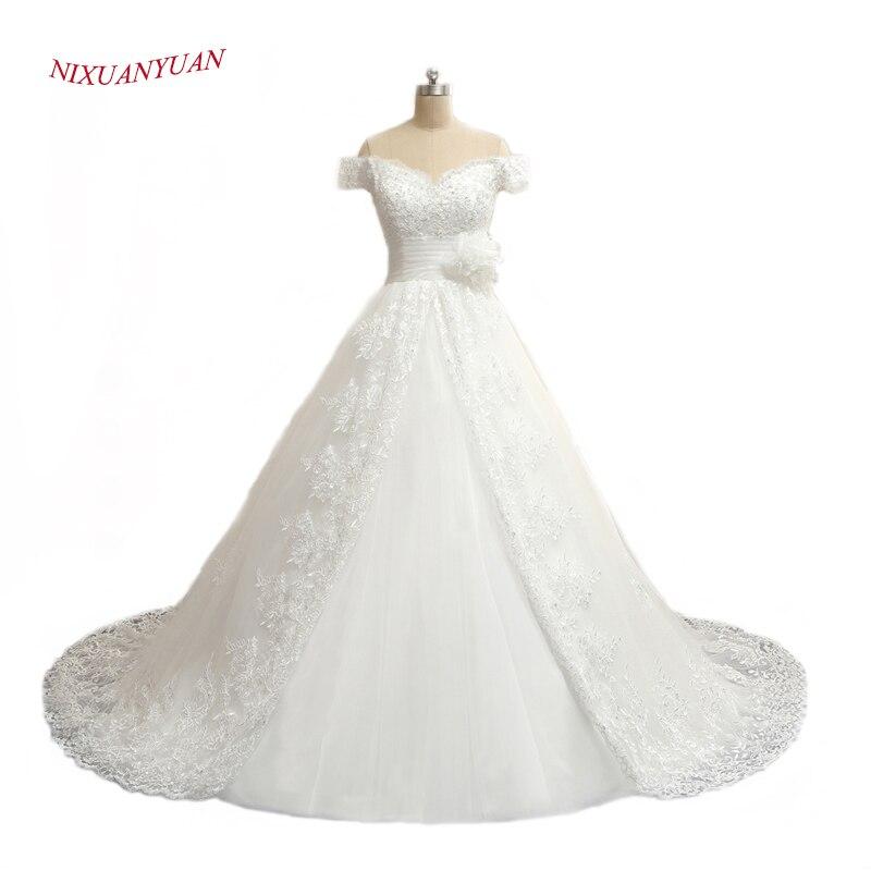 NIXUANYUAN Real Photo Lyxapplikationer Kulkledda Bröllopsklänning 2017 Kina Prinsessan Brudklänningar Vestido De Noiva Med Långt Tåg