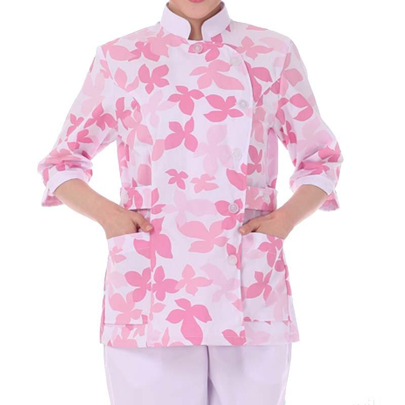 Women's Fashion Scrub Tops Medical Long Sleeve Printed Top