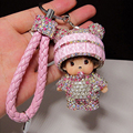 Cute Crystal Rhinestone Monchichi Dolls Keychain Car Leather Keyring Creative Handbag Charm Key Chain porte clef llaveros WK0460