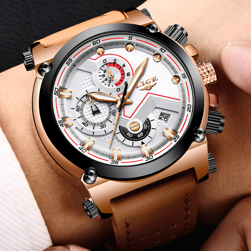 цена Relogio Masculino LIGE Fashion Sports Quartz Big Dial Clock Mens Watches Top Brand Luxury Military Leather Waterproof Watch men