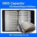 O Envio gratuito de 0805 SMD Livro Da Amostra Capacitor 105valuesX50pcs = 5250 pcs 0.2PF ~ 10 UF Capacitor Variedade Pack Kit
