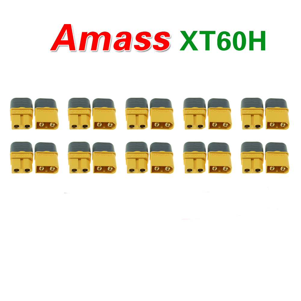 10 Pair Amass XT60H Bullet Connector Plug Upgrated of XT60 Female Male Gold Plated For Rc