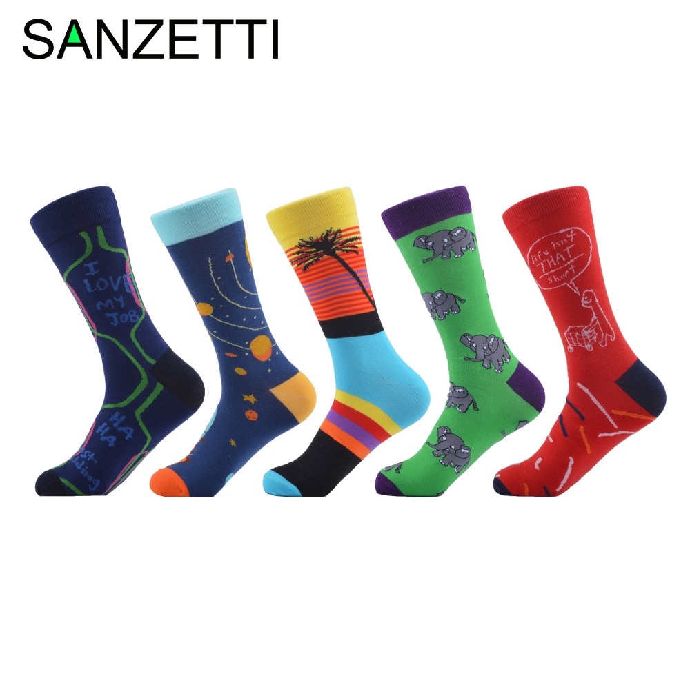 Men's Socks Considerate Sanzetti 5 Pairs/lot Top Quality 200 Needles Combed Cotton Mens Socks Novelty Fashion Funny Male Crew Socks Chaussette Homme