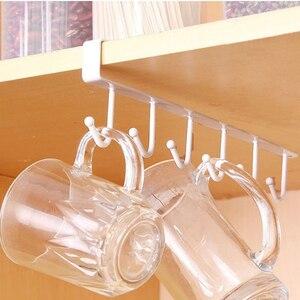 Image 2 - שחור/לבן ברזל 6 ווים מחזיק כוס תליית רחצה קולב מטבח ארגונית ארון דלת מדף להסיר אחסון מתלה בית דקור