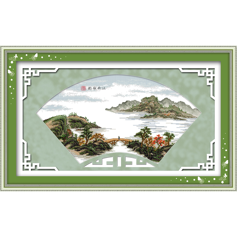Everlasting love Autumn of Changjiang River Chinese cross stitch kits Ecological cotton stamped printed Christmas decorations