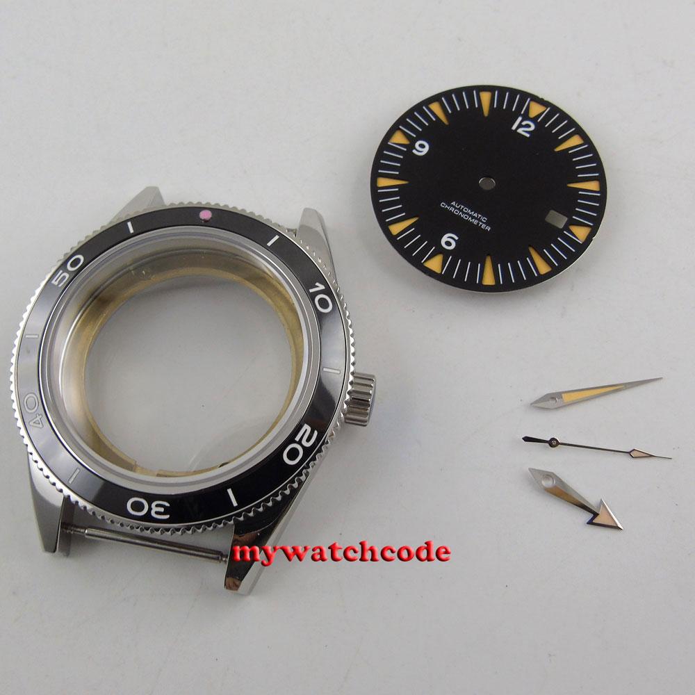 41mm sapphire glass no logo Watch Case + dial + hand fit ETA 2824 2836 MOVEMENT