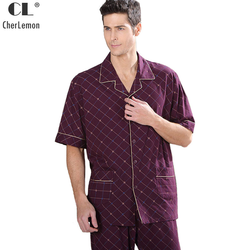 CherLemon Summer Comfortable Mens Bamboo Fiber Short Sleeve Pajama Set Casual Turn Down Collar Plaid Male Pyjama Sleepwear M-4XL