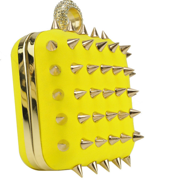 Women Bag 2013 Ladies Handbags Rivet Evening Bags Fashion Hard Case Day Clutches Free shipping PROMOTION  SY0004 Black Yellow