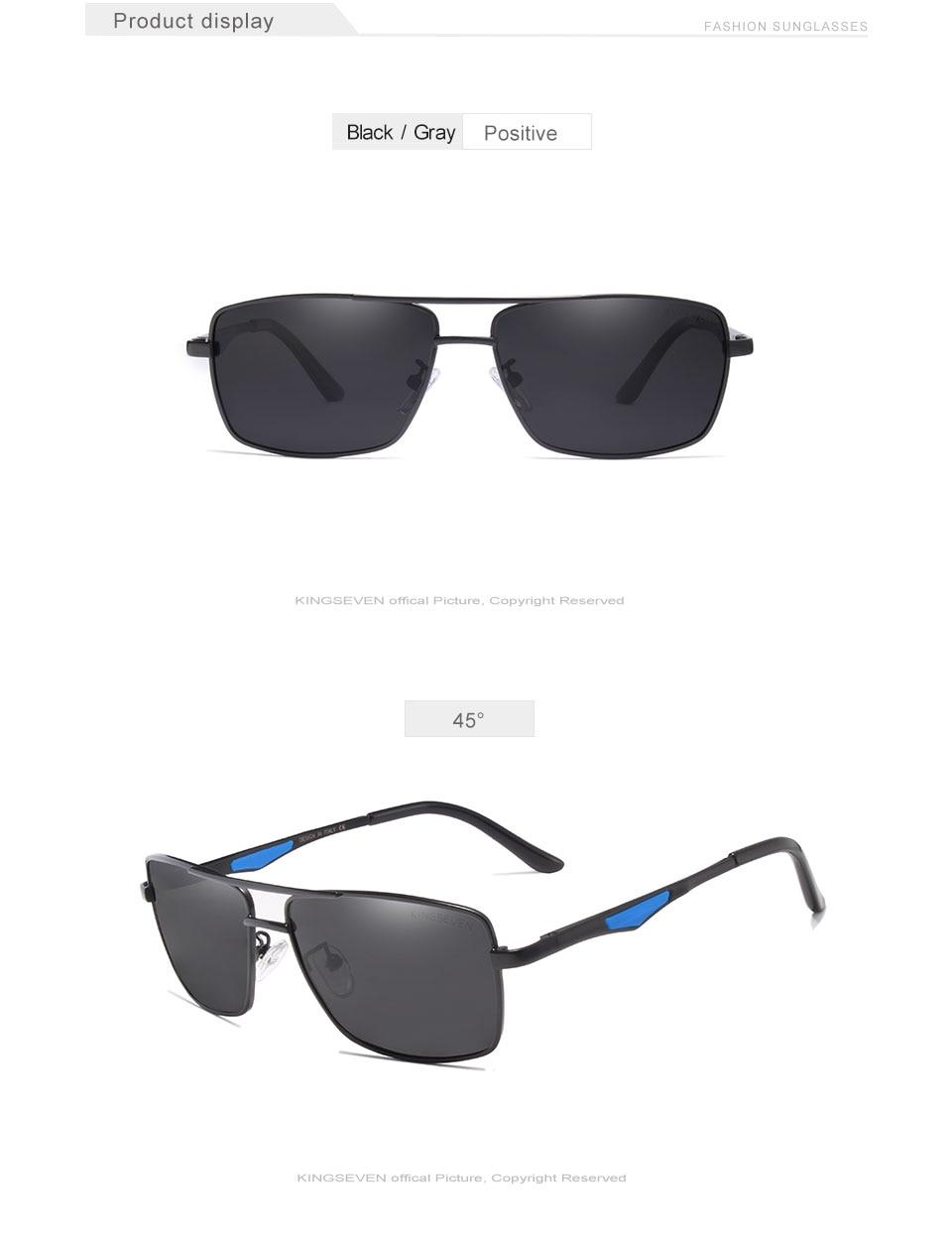 KINGSEVEN 2020 Brand Classic Square Polarized Sunglasses Men's Driving Male Sun Glasses Eyewear UV Blocking OculosN7906