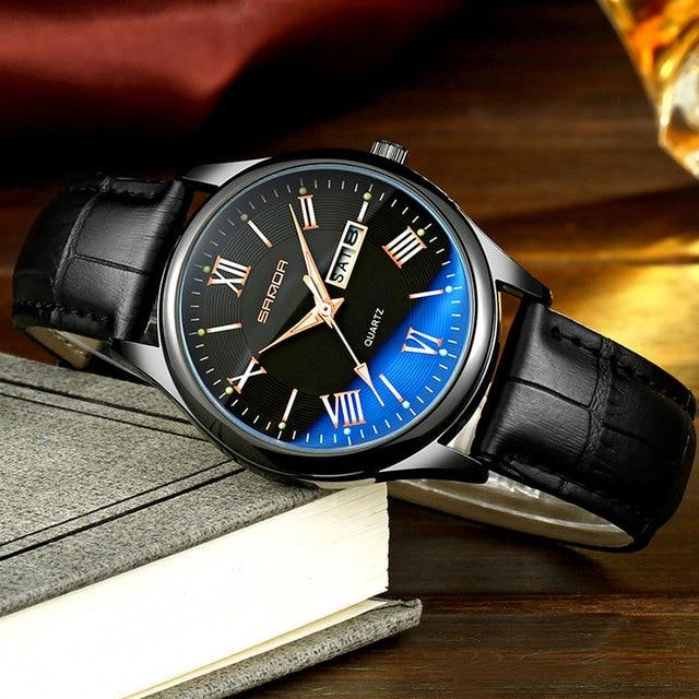 SANDA Business Quartz Watch Men Watches Top Brand Luxury Famous Male Clock Leather Wristwatch For Man Hodinky Relogio Masculino