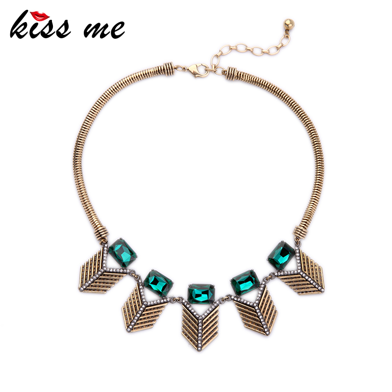KISS ME Alloy Vintage Necklace New Design Green Geometric Pendant Jewelry Female Choker NecklaceKISS ME Alloy Vintage Necklace New Design Green Geometric Pendant Jewelry Female Choker Necklace