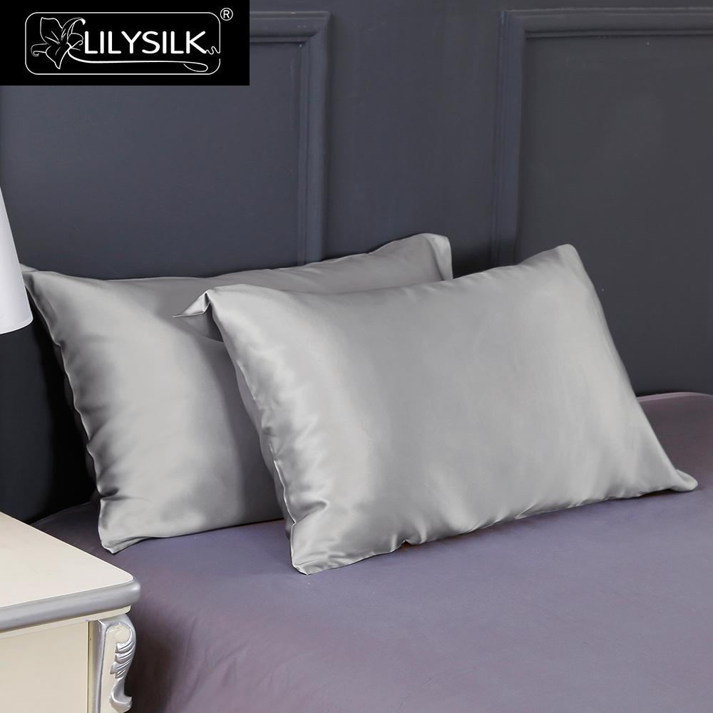 Lilysilk Pure 100 Silk Pillowcase Beauty Chinese Natural Mulberry Hair Luxury 19 Momme Blue 40x60cm King Queen Long 1 piece