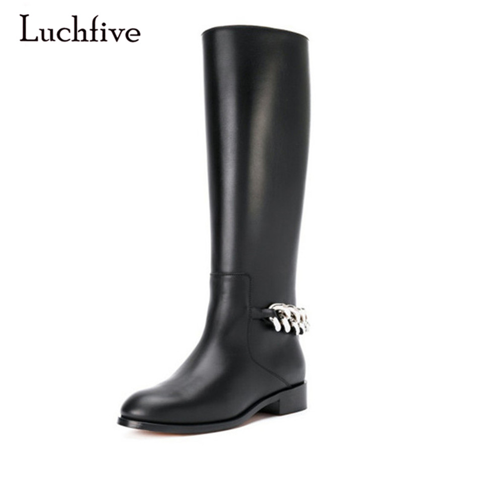 Luchfive Black Leather Knee High Boots For Women Round Toe Back Chain Knight Boots Flat Fashion Runway Long leather Booties
