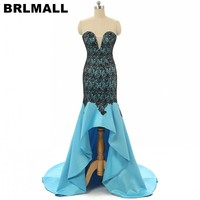 BRLMALL Hot Sale 2017 Blue Hi-Lo Prom Dress Custom Made Sweetheart backless Black Lace Appliques evening party dress