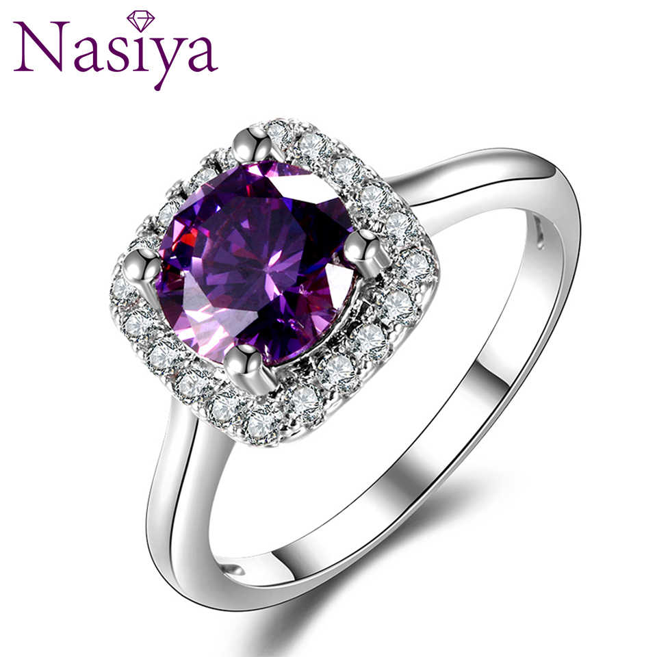 Nasiya New Trendy แหวนสร้าง Amethyst แหวนผู้หญิงแฟชั่น 925 เงินอัญมณี Party ของขวัญ