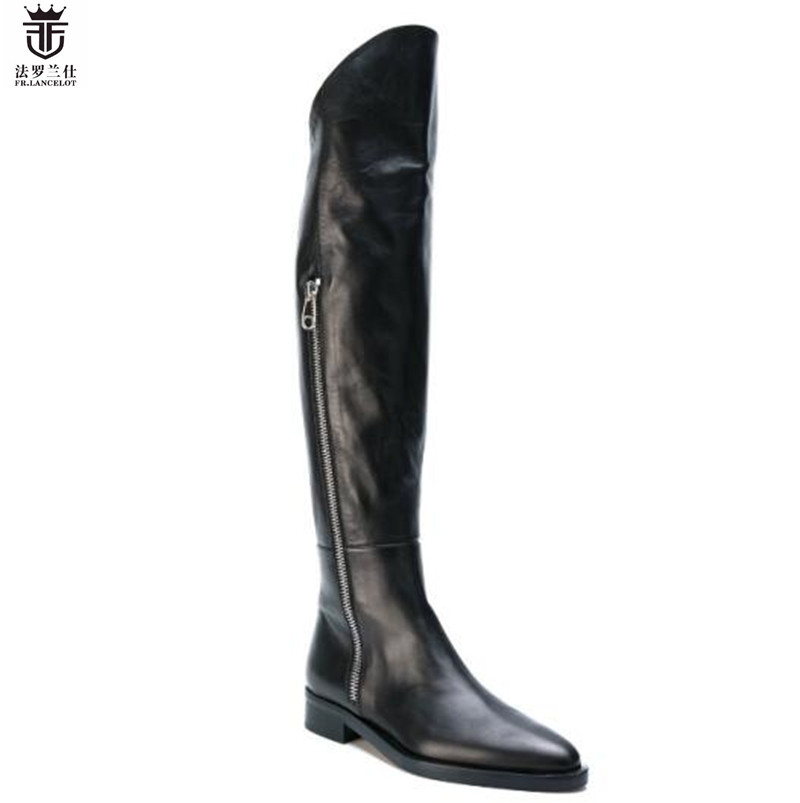 2019 FR LANCELOT Brand Black Genuine Leather Side Zipper Men Knee High Cool Boots Flats Chelsea
