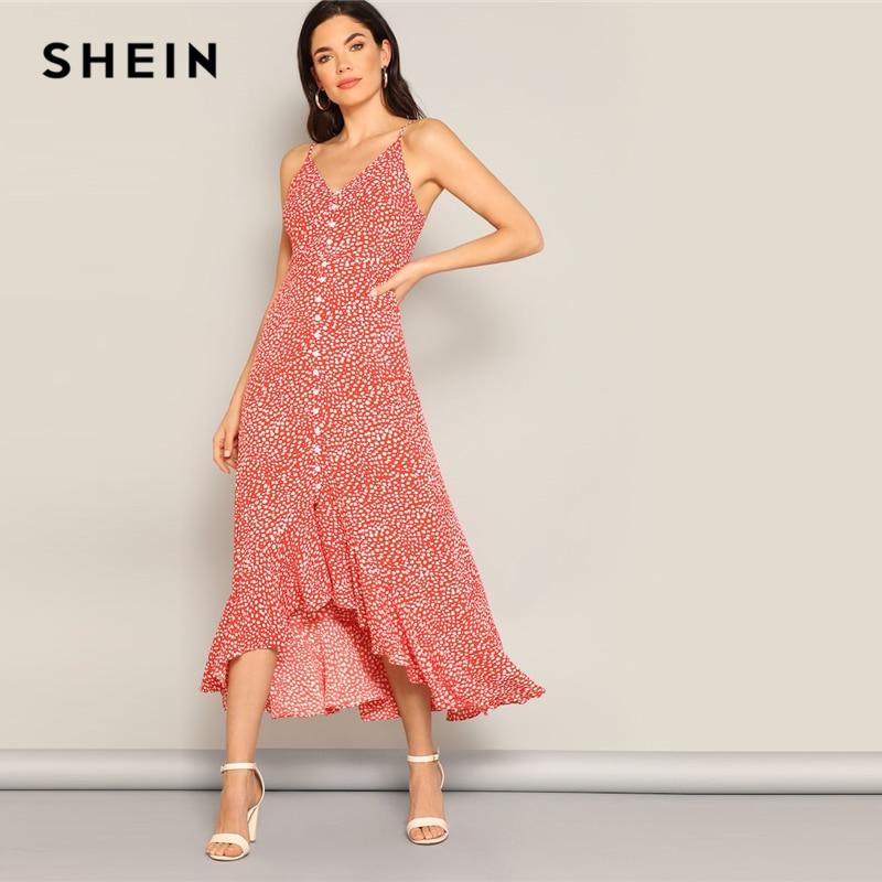 Шеин красный Леопардовый скошенный сверху вниз, асимметричный Hem Cami Dress 2019 Весна Спагетти ремень Высокая талия без рукавов элегантные плать...