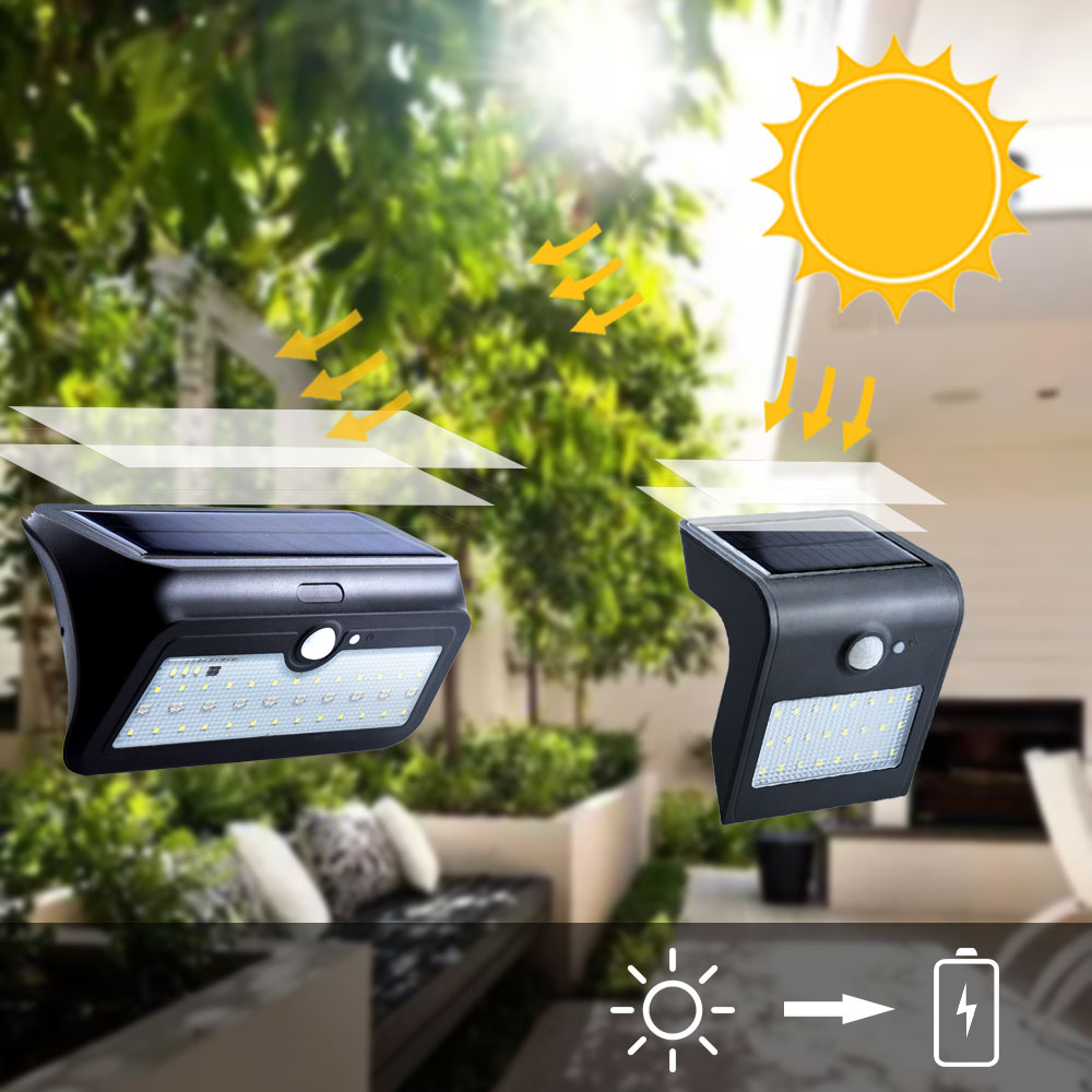 24 LED Outdoor Solar Motion Sensor Lights Waterproof Wireless Garden LED Path RGB Wall Night Light Blue Backlight Security Lamps
