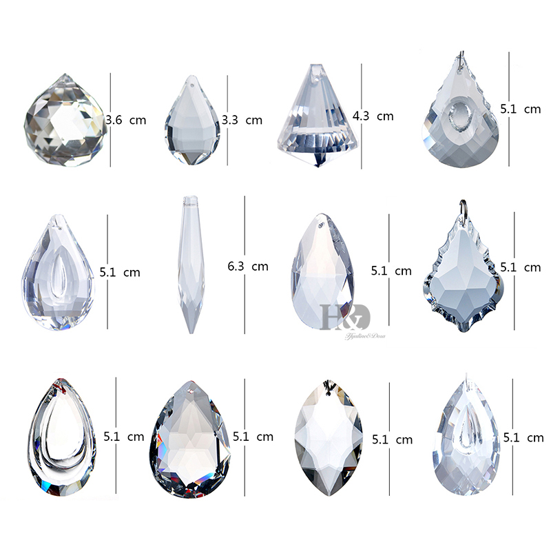 Купить с кэшбэком H&D Pack of 12 Clear Crystal Chandelier Lamp Lighting Drops Pendant Ball Prisms Hanging Glass Prisms Parts Suncatcher Home Decor