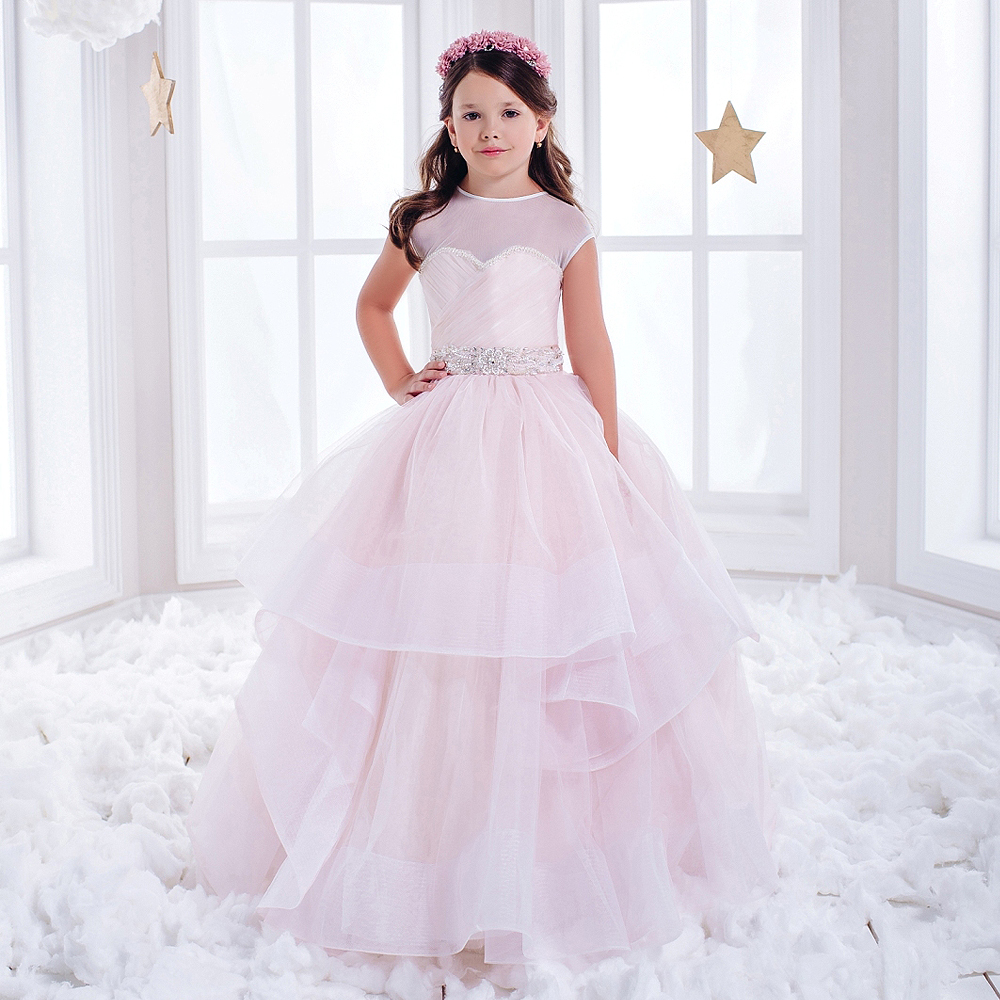 ФОТО Flower Girl Dresses for Weddings Pink Ball Gown Sleeveless O-Neck Lace Up Beading Ruffle Vestidos De Comunion Kids Evening Gown