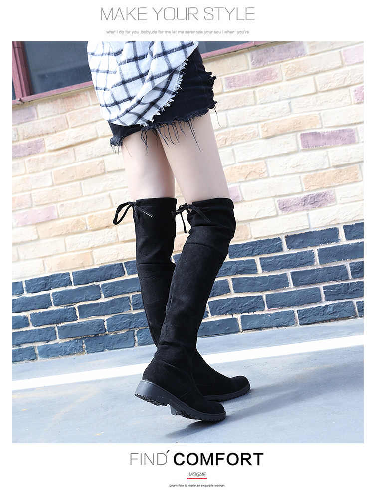 484e741378f Detail Feedback Questions about Thigh High Boots Female Winter Boots Women  Over the Knee Boots Flat Stretch Sexy Fashion Shoes Black on Aliexpress.com  ...