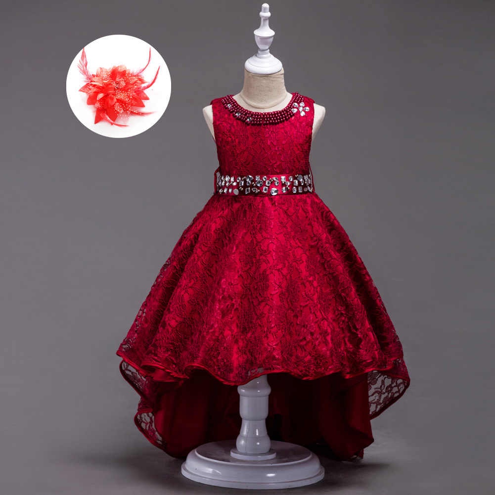 128d6e9c45 European Size 3-10 11 12 13 14 15 Party Girl Clothes Cocktail Event High  Low Kids Wedding Dress Burgundy Red Royal Blue Beige