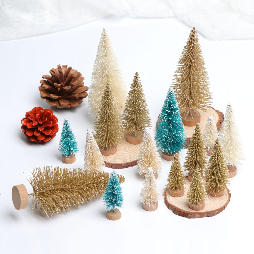 OurWarm 8Pcs Sisal Fiber Mini Christmas Tree 3Colors Snow Frost Small Pine Tree DIY Craft Desktop Decoration Christmas Ornaments in Trees from Home Garden
