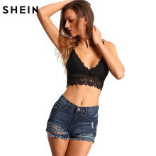 SHEIN Summer 2016 Womens Sexy Tops Plain Slim Fit Black Spaghetti Strap V Neck Slip Hollow out Lace Lingerie
