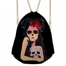 Punk 3D Cartoon Girls Skull Print Women Drawstrings Bags Female Backpack for Shopping Softback Storage Punch PocketSumka